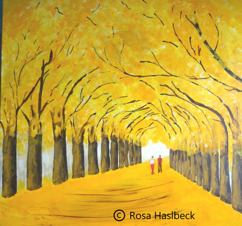 Acrylbild, acryl, park, allee, bäume, baum, menschen, herbst, herbstallee, gelb, braun, rot, bild, malen, malerei, kunst, geko, dekoration, wandbild, abstrakt