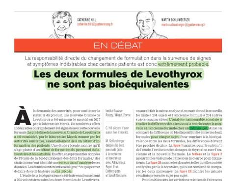 Levothyrox les 2 formules ne sont pas bioéquivalentes