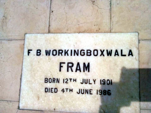 Fram's grave stone at Lower Meherabad, India.