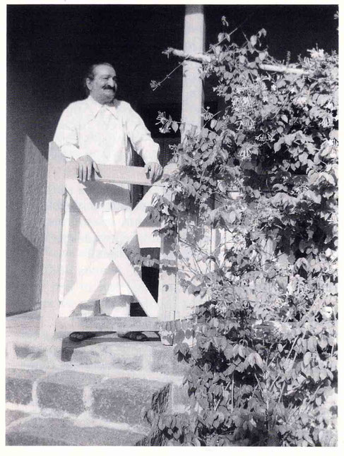 1955 ; Meher Baba at Grafton residence at Satara, India. Image is courtesy of Lord Meher.