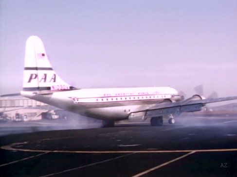 Meher Baba's plane, the Boeing 377 Strato-cruiser preparing to take off from San Francisco's airport to Fly to Honolulu. Image captured by Anthony Zois from a film by Sufism Reoriented.