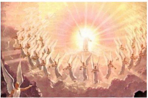 Jésus reviendra sur une nuée, lors de l'instauration de son Royaume de justice comme il l'a lui-même prophétisée quand il était encore sur terre. Alors on verra le Fils de l'homme venir sur une nuée avec beaucoup de puissance et de gloire.
