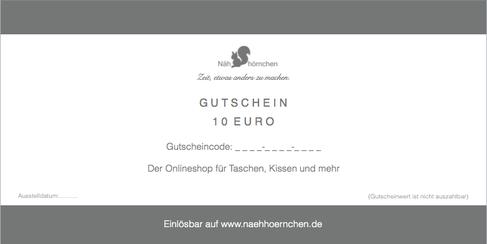 Geschenkgutschein von Nähhörnchen für Taschen, Kissen und mehr (im Wert von 10 €, 25 €, 50 € oder 75 €)
