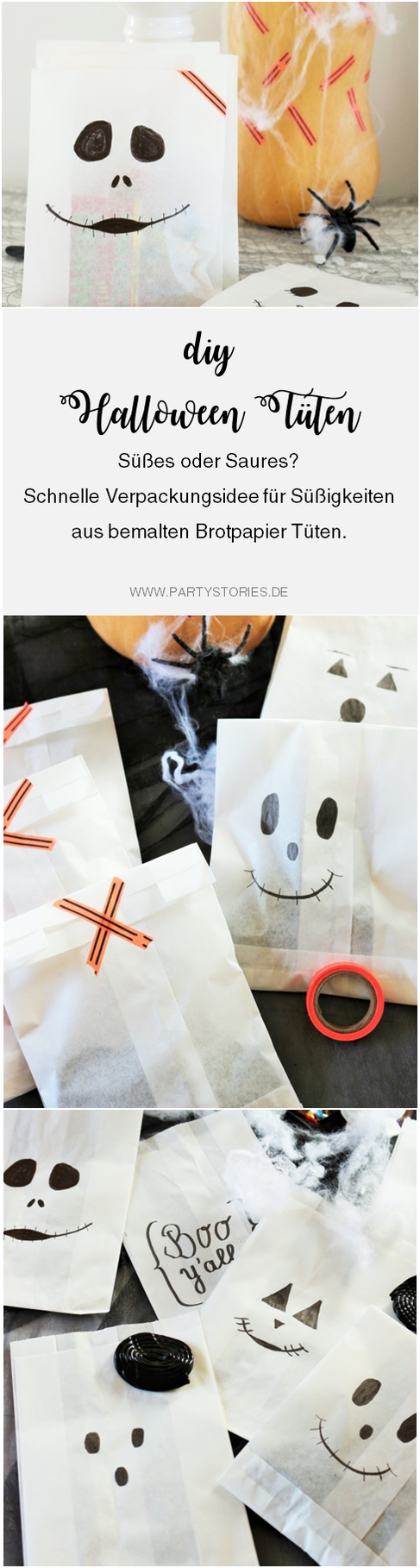 Bild: Eine schnelle last-minute Idee, um Halloween Süßigkeiten zu verpacken - in Brotpapier Tüten samt aufgemalten Gespenster- und Geistergesichtern. Anleitung und noch mehr DIY Halloween Ideen zum Feiern gibt's auf www.partystories.de
