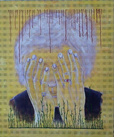 Will grass overgrow everything? Acrylic on net /50 x 60 cm