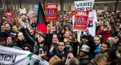 Demo mod Geert Wilders racistiske parti PVV i Amsterdam