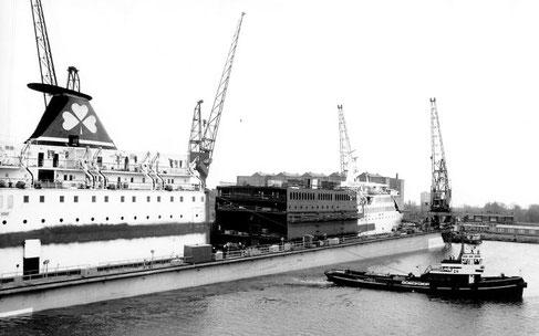 Saint Killian in a shipyard of Amsterdam, undertaking a jumboisation.