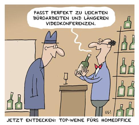 Cartoon zu Wein als Unterstützung bei Videokonferenzen