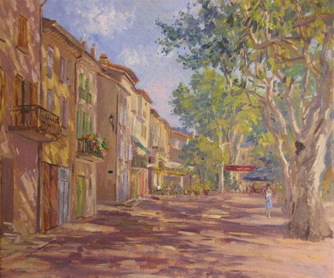 Tony Wahlander (Wåhlander) Les reflets de lumières et d'ombres que les platanes  forment dans les rues et sur les façades des maisons fascinent le peintre Tony wahlander.