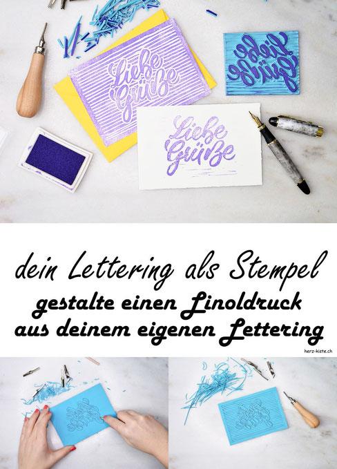 DIY Anleitung: So gestaltest du ganz einfach dein eigenes Lettering als Stempel mit einem Linoldruck - einfache und bebilderte Schritt für Schritt Anleitung