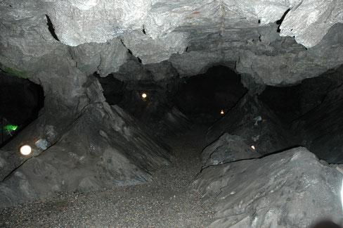 Säulenhalle - Die 2,3km Ganglänge und über 8.700m² Fläche umfassende Kalkberghöhle (eine sog. Laug- und Sickerhöhle) ist ein Beispiel für die Verkarstungsvorgänge im Segeberger Untergrund