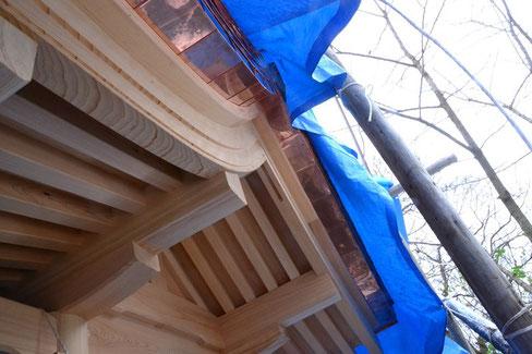 屋根の端っこはすでに銅板で覆われていますね。これ以上は確認できませんね。