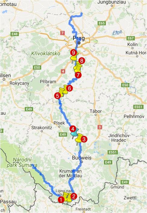Stauseen auf der Moldau - vltavské kaskády