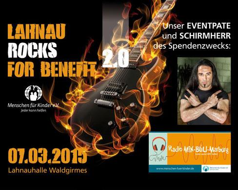 Werbebanner mit Eventpate Bülent Ceylan für Lahnau rocks for Benefit 2.0