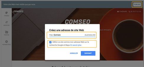 Publier un site Google My Business