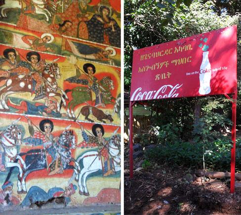 Kirchenmalereien und Coca-Cola-Werbeschild auf einer Insel im Tanasee