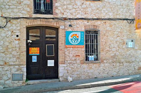 Praxiseingang  verschönert altes Steinhaus  mit Logo