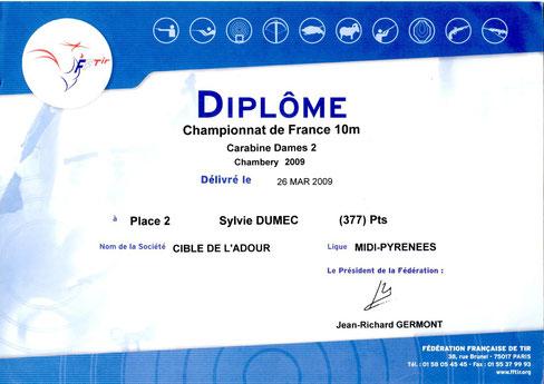 2ème au championnat de France 10mètres à Chambery