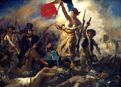 ドラクロワ「民衆を導く自由の女神」1830年、ルーヴル美術館