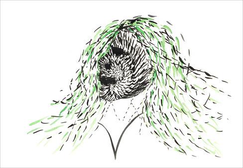 Haarface, 2004, Tusche und Ecoline auf Papier, 42 x 29,7 cm