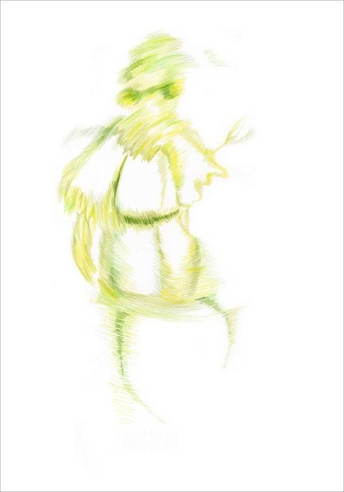 Miss B. (unscharf), 2007, Buntstift auf Papier, 42 x 59,4 cm