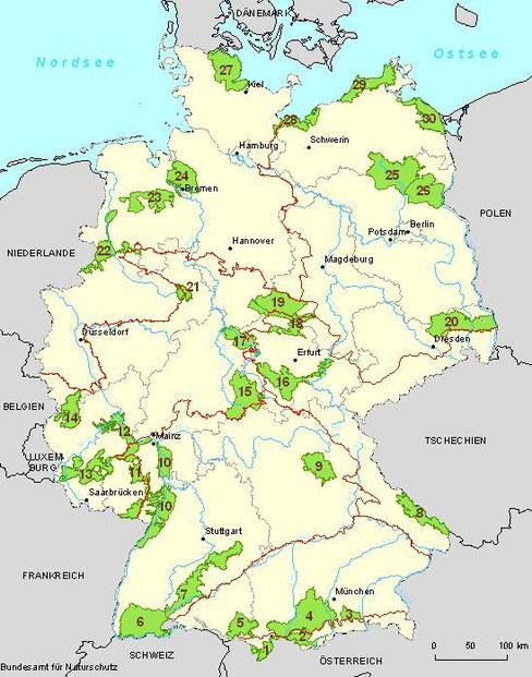 Hotspots der biologischen Vielfalt in Deutschland. Quelle: Bundesamt für Naturschutz