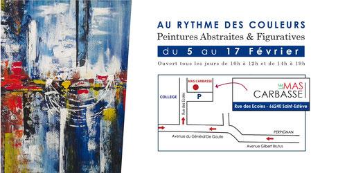 Exposition peintures de Bernard Legos artiste peintre abstrait et figuratif  à Perpignan région Occitanie