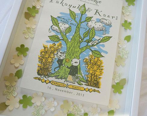 猫夫婦、木と祝福の花のウェルカムボード木製額