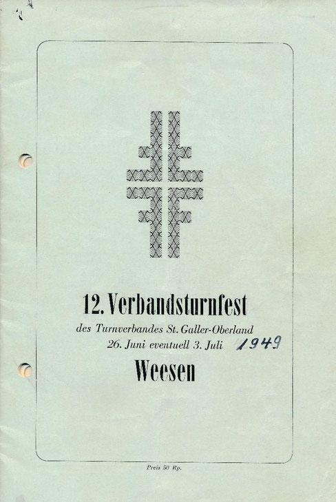 """Titelseite des """"Festführers"""", zugestellt von Max Bühler, Weesen."""