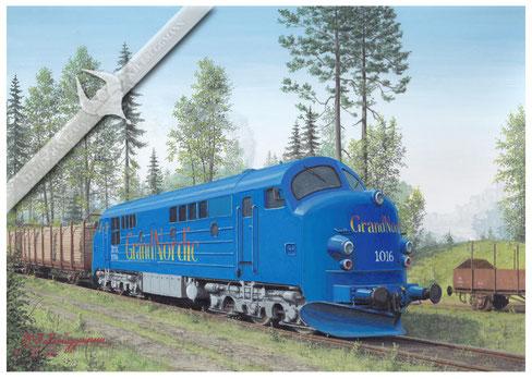 NOHAB Diesellok Grand Nordic TMX 1016 auf der Inlandsbahn, Schweden, 2005, Aquarell