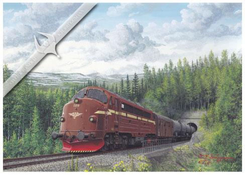 NOHAB Diesellok NSB 619 mit Kesselwagenzug auf der Nordlandsbahn in den 70ern, Aquarell.