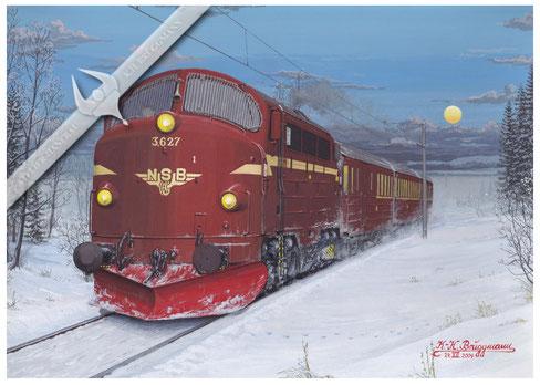 NOHAB Diesellok NSB 627 mit 3 Wagenzug in Richtung Oslo 1972, Aquarell.