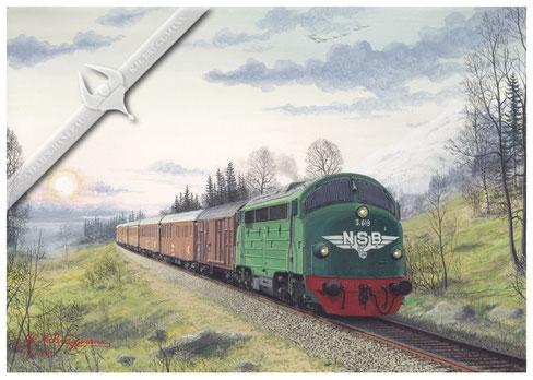 NOHAB Diesellok NSB 619 auf der Bergenbahn 1960, Aquarell.