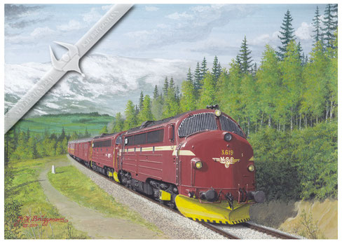 NOHAB Diesellok NSB 619 / 616 mit Polarexpress Bodö-Trondheim in den 80ern, Aquarell.