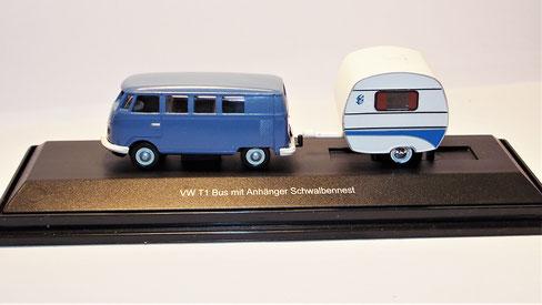 """Schuco 26105 H0 VW T1 mit Anhänger """"Schwalbennest"""""""