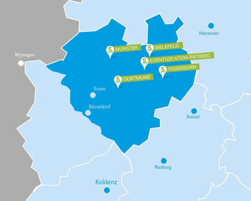 Ostwestfalen, Münster, Bielefeld, Dortmund, Eventlocation Rietberg, Paderborn, teamevent.de, Teamevent, Firmenevent, Betriebsausflug, Schnurstracks, Teambuilding