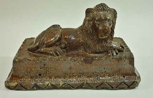 Folk art Stoneware model of a lion