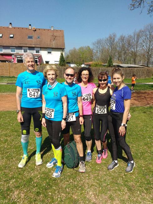 Von links:  Wolfgang, Maria, Günter, Anja, Rita und Clara vor dem Start