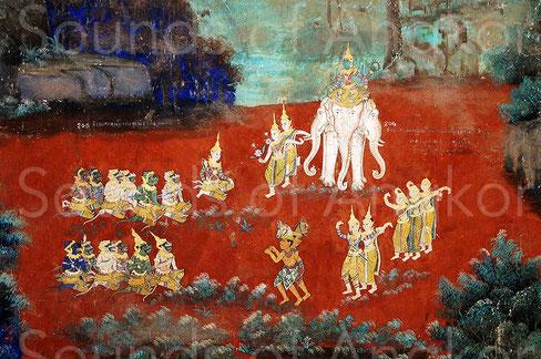 « À la vue du carnage, Indrajit s'échappa sur son éléphant et prit l'apparence du Brah Indr ; des danseuses célestes se mouvaient avec grâce à ses côtés et des dieux jouaient une musique aux accents étrangement beaux. » Palais Royal, Phnom Penh.