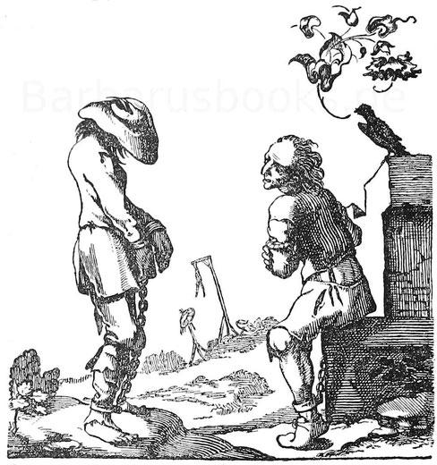 Deserteure im Dreißigjährigem Krieg. Kupferstich aus C. Richter, Soldatenleben, 1642.