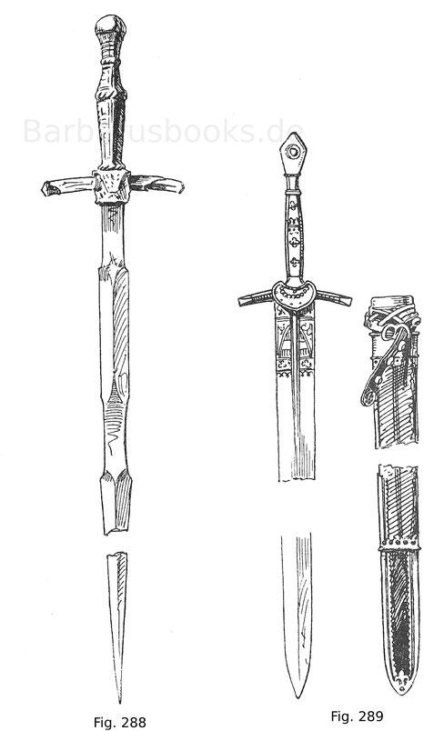 Fig. 288. Pörschwert mit kantig geschliffener Klinge (gotischer Einfluss). Der Griff ist mit Leder überzogen; die Parierstangen sind verstümmelt. Um 1500. Deutsch.