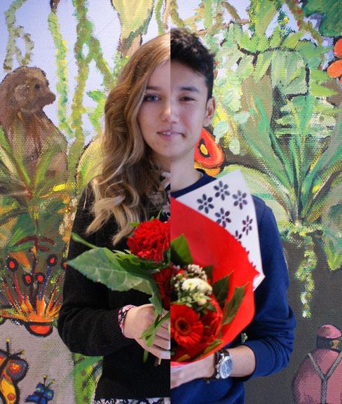 halb Frau und halb Mann: beide üben den Beruf Florist/in aus.