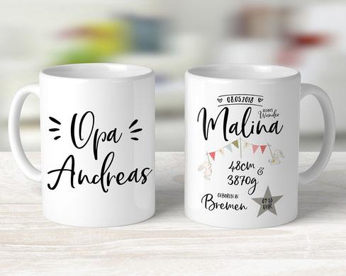 personalisierbare Tasse für Opa mit den Geburtsdaten Enkel