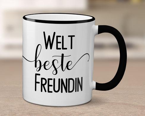 Tasse schwarz weiß beste Freundin
