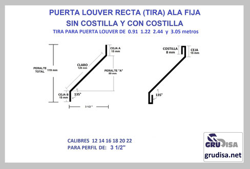 "PUERTA LOUVER (TIRA) RECTA PARA PERFIL DE 3 1/2"""