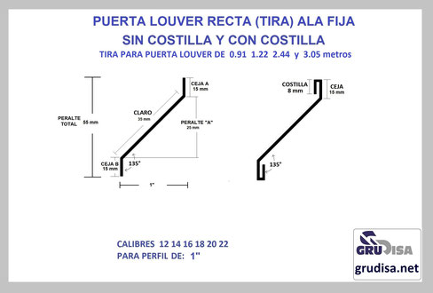 "PUERTA LOUVER (TIRA) RECTA PARA PERFIL DE 1"""