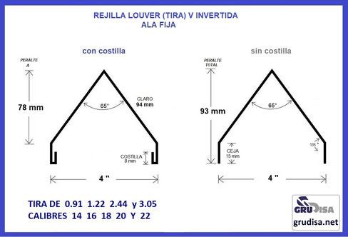 """REJILLA LOUVER (TIRA) PARA PERFIL DE 4"""" EN V INVERTIDA GruDisA"""