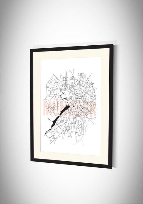 Stadtkarten-Poster Münster