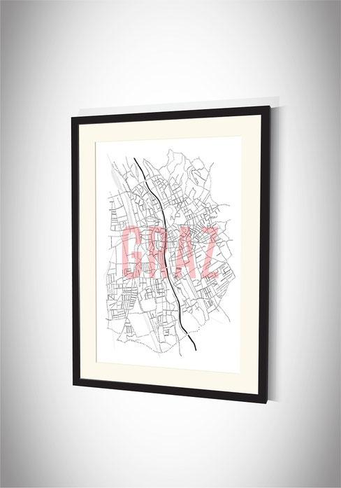 Stadtkarten-Poster Graz
