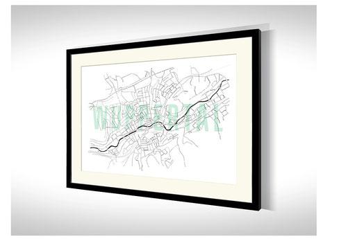 Stadtkarten-Poster Wuppertal